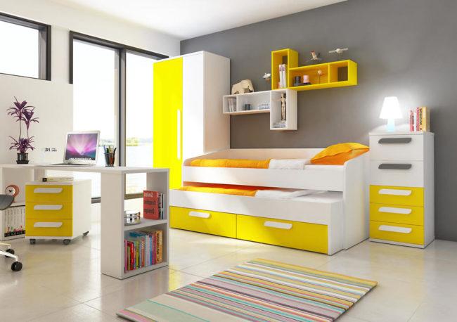 Detská izba s prístelkou B - žltá - Detská posteľ s prístelkou B