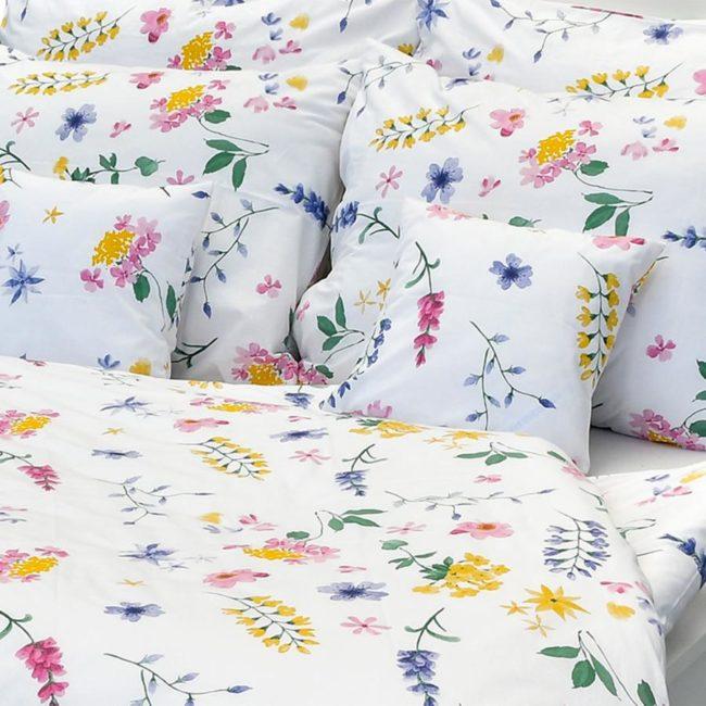 Luxusné bavlnené obliečky Flóra biela 140x200/70x90 cm