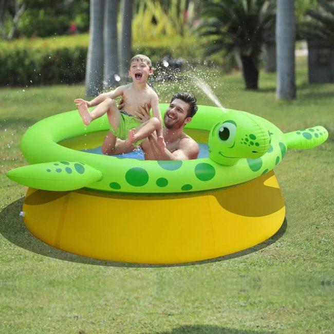 Jilong Nafukovací bazén v tvare korytnačky s tryskou, 175x62 cm, 1270 l