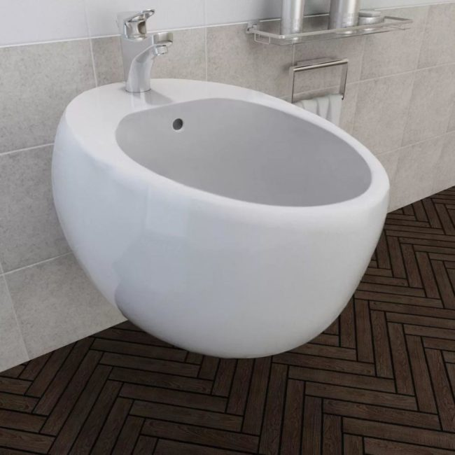 VidaXL Biely keramický závesný bidet