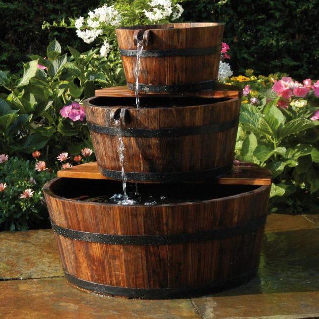 Ubbink Záhradná fontána z drevených sudov 3ks set