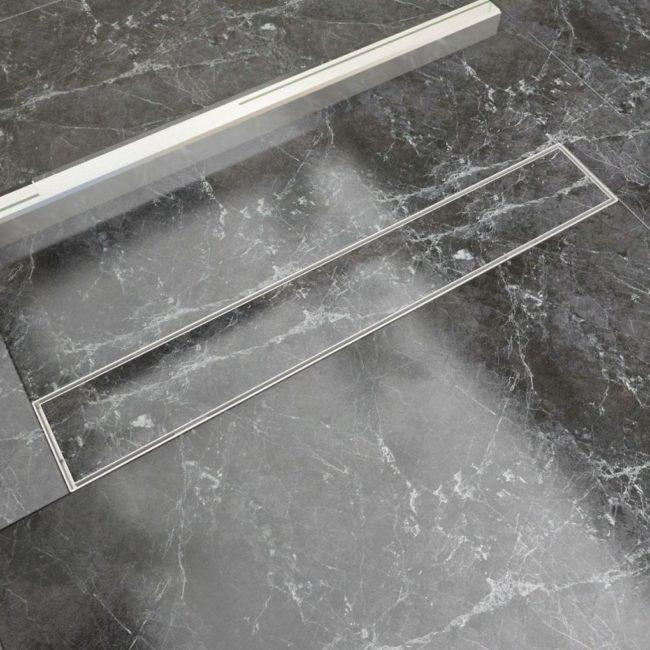 VidaXL Sprchový podlahový žľab, 730x140 mm, nerezová oceľ