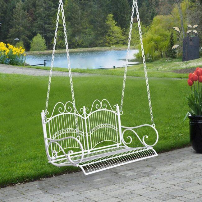 Zahradní závěsná houpací lavička kovová Goleto Vintage | bílá