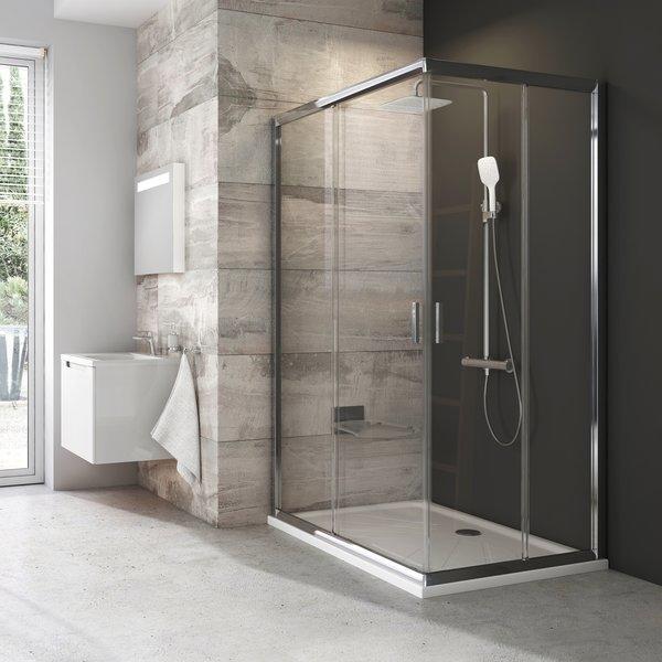 Sprchový kút Ravak Blix štvorec 110 cm, sklo číre, chróm profil BLRV2K110TBR