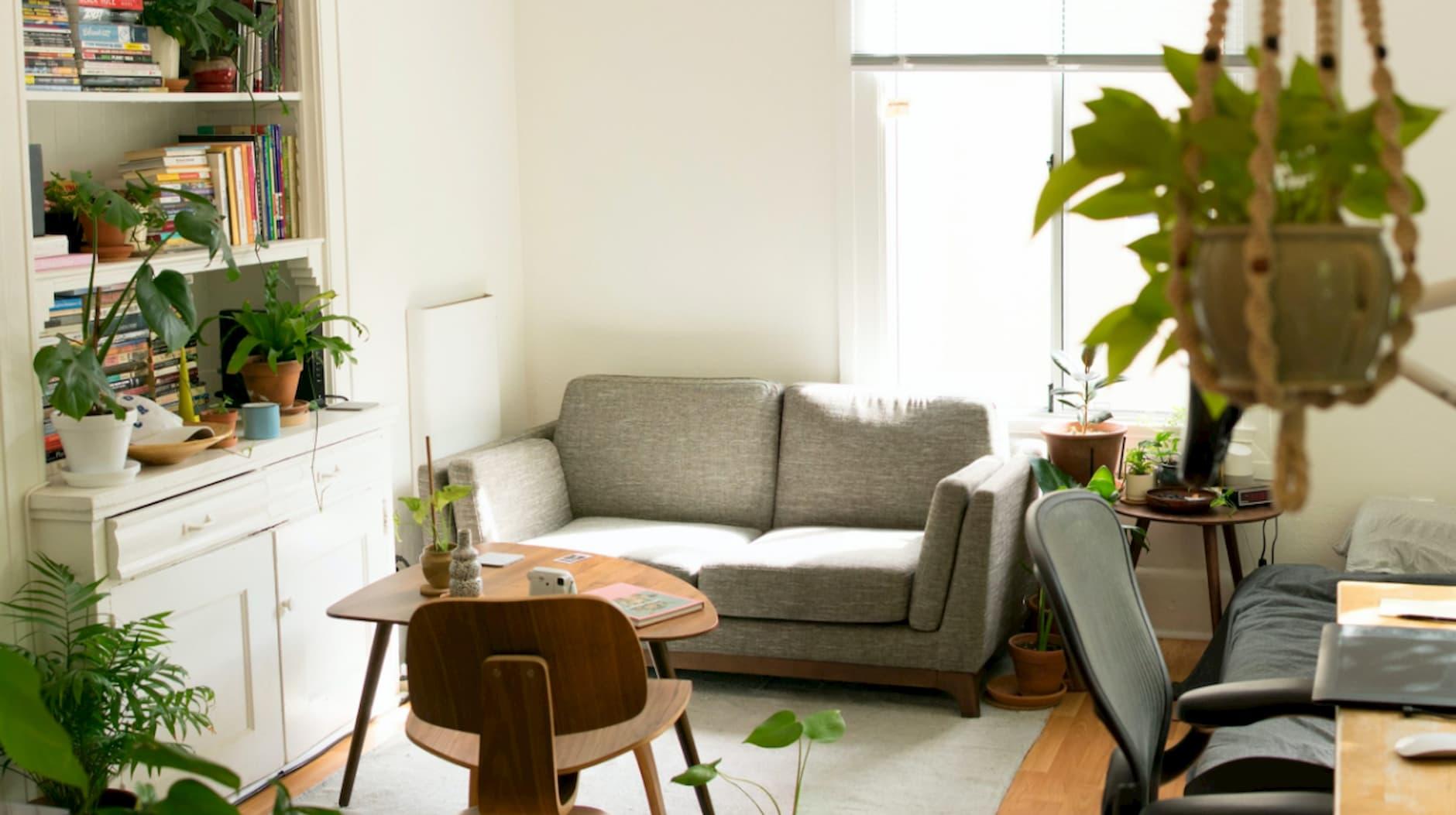 vybavenie_bytu_obývačka_sivý_gauč_komoda_knihy_bledy_koberec_dreveny_stolcek_stolička